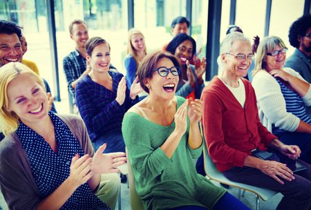 people laughing: Audience Applaud Clapping Happines Appreciation Training Concept Stock Photo