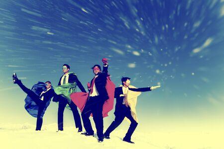 heros: Businessmen Superheros Inspiration Leadership Success Concept