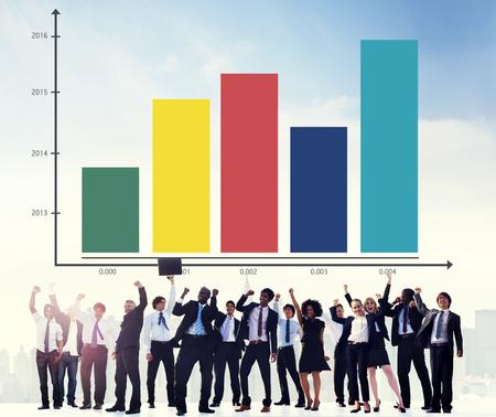 business performance: Bar Graph Analysis Achievement Improvement Strategy Success Concept Stock Photo
