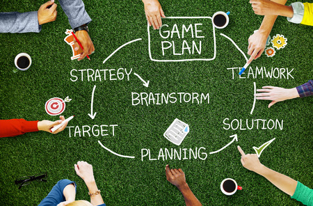 Game Plan strategie Planning Tactiek Target Concept Stockfoto - 46738369