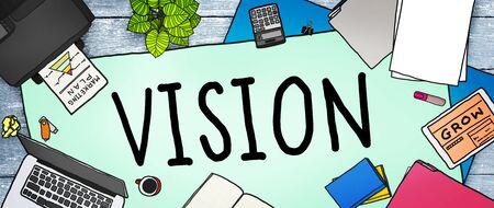 office stuff: Vision Motivation Mission Inspiration Planning Concept
