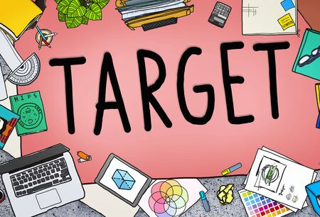 messy office: Target Aim Goal Marketing Mission Aspiration Concept Stock Photo