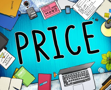 office stuff: Price Cost Value Money Amount Rate Commerce Concept Stock Photo