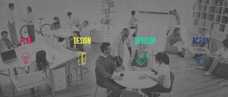 people development: Strategy Startup Business Plan Desigh Action Ideas Concept