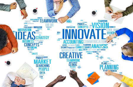 and future vision: Innovación Inspiración Creatividad Ideas Progreso Innovate Concept