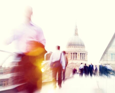 rushing hour: Commuter Business People Commuter Crowd Walking Cathedral Concept