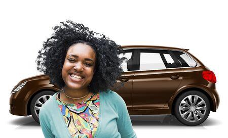 woman driving car: Car Vehicle Hatchback Transportation 3D Illustration Concept