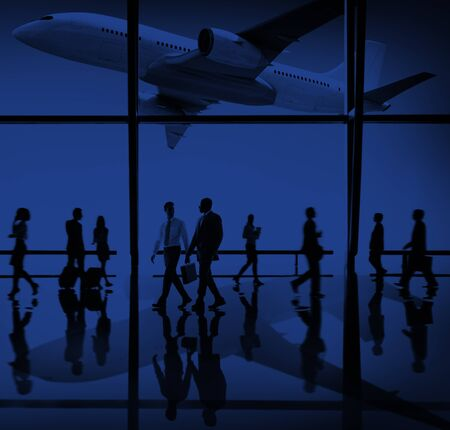 business travel: Airplane Airport Business Travel Flight Transport Concept