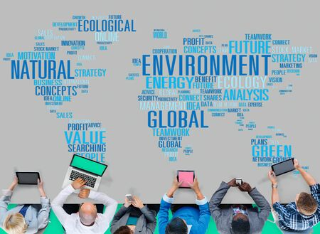 ecosystems: Environment Natural Sustainability Global World Map Concept Stock Photo