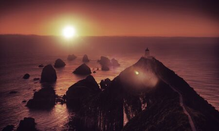 new scenery: Light House Nugget Points New Zealand Scenery Concept