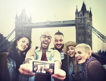 friends fun: Diverse Summer Friends Fun Bonding Selfie Concept