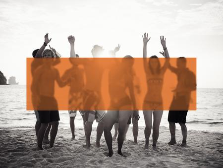 sunset beach: Summer Togetherness Friendship Vacation Bonding Concept