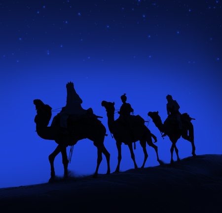 wise men: Three Wise Men Camel Travel Desert Bethlehem Concept Stock Photo