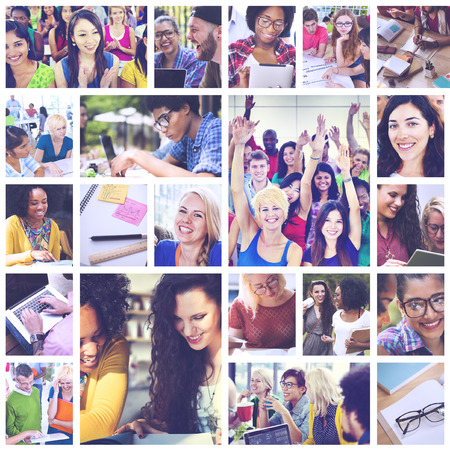 start up: Diverse People Students Start Up Collage Concept