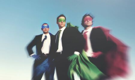 heros: Strong Superhero Business Aspirations Confidence Success Concept