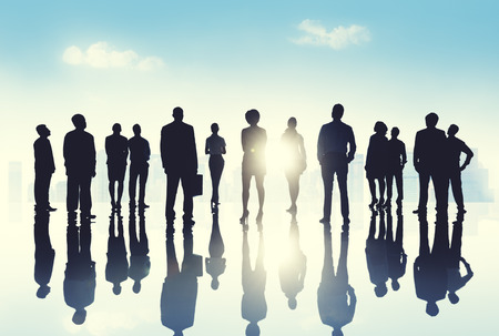vision concept: Group Business People Silhoutte Looking Up Vision Concept Stock Photo