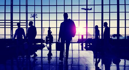 people traveling: Back Lit Business People Traveling Airport Passenger Concept