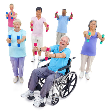 elderly adults: Group Healthy People Fitness Exercise Togetherness Concept
