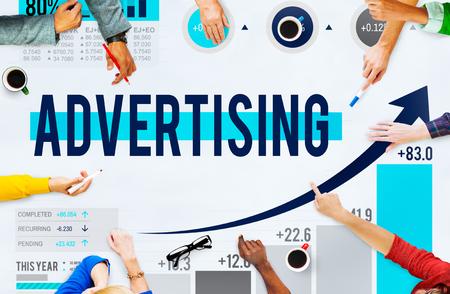 Werbung Werbung Werbung Branding-Marketing-Konzept Standard-Bild