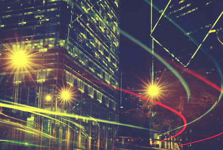 blurry lights: Night View of Blurry Lights in a City Concept