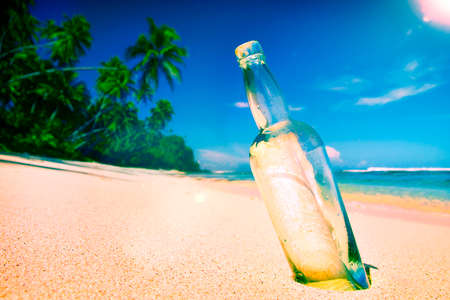 message in bottle: Message Bottle Sending Sea Tropical Information Concept