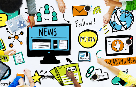 news update: News Breaking News Daily News Follow Media Searching Concept Stock Photo
