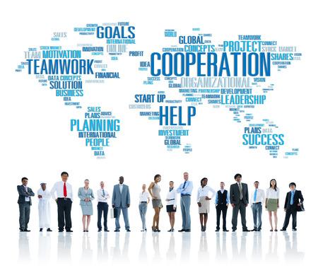 trabajando en equipo: Coorperation de trabajo Ejecutivo Planificar Trabajo en equipo Concepto Foto de archivo