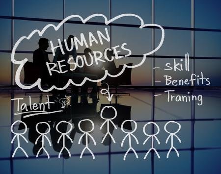 silueta humana: Resourecs Humanos Contrataci�n Trabajo Ocupaci�n Concepto Foto de archivo