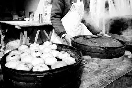 asian culture: Steamed Dumplings Asian Culture Street Food Concept Stock Photo