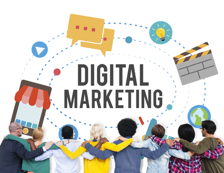 People with the word DIGITAL MARKETING
