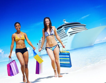travel location: Women Bikini Shopping Bags Beach Summer Concept