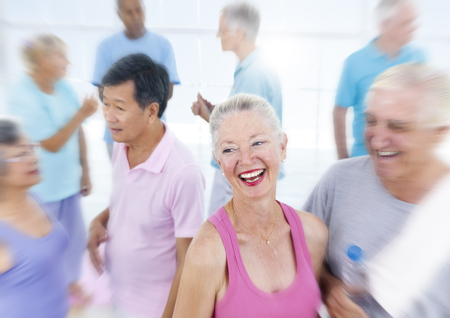 fitness training: Senior Adult Healthy People Fitness Training Concept