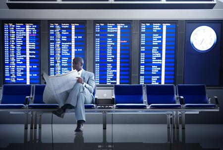 Zakenman Airport Business Travel Vlucht Wachten Concept