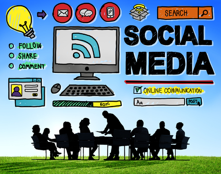 social media marketing: Social Media Social Networking Technology Connection Concept