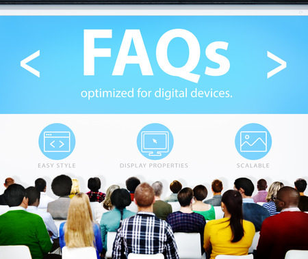 faqs: Digital Online FAQs Community Office Working Concept Stock Photo