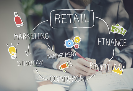 business and commerce: Retail Online Marketing Strategy Commerce Advertising Concept