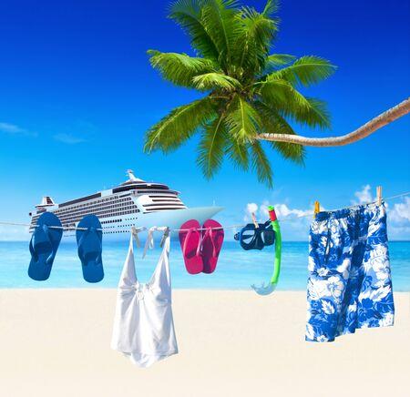 clothesline: Clothesline Tropical Beach Summer Vacation Concept Stock Photo