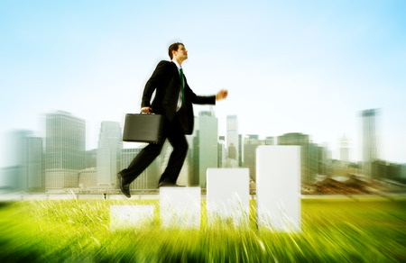 arise: Business Man Climbing Up Steps Outdoors Concept Stock Photo