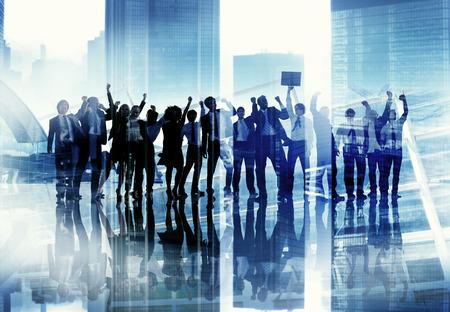празднование: Корпоративный бизнес Люди Успех команды Празднование Концепция