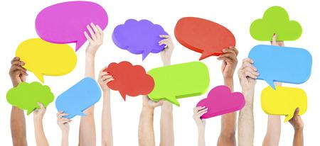 연설 거품 소셜 미디어 네트워킹 통신 개념