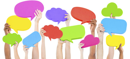 Speech Bubble Social Media Networking Kommunikationskonzept Standard-Bild