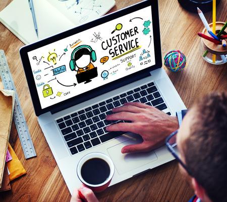 haushaltshilfe: Kundendienst-Support Kundendienst Help Guide Konzept Lizenzfreie Bilder