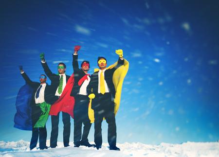 a blizzard: Business Superheros Rescue Blizzard Arms Raised Concept