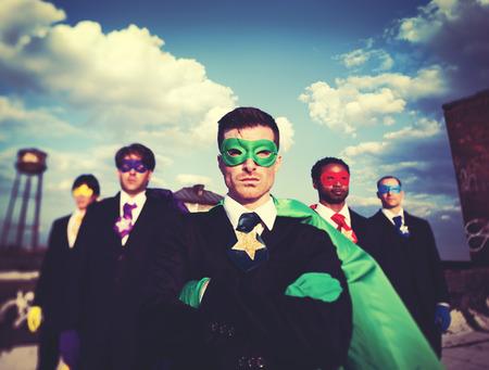 기업인 슈퍼 히어로 팀 신뢰의 개념 스톡 콘텐츠