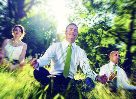 closed society: Business People Meditating Nature Relaxation Concept
