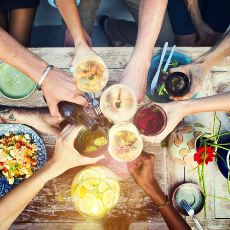 catering: Food Table Healthy Delicious Organic Meal Concept Stock Photo