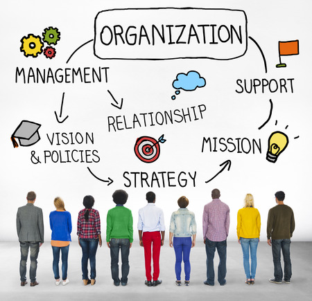 facing backwards: Organization Management Team Group Company Concept Stock Photo