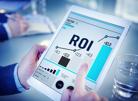 rendement: ROI Return On Investment Analysis Financiën Concept Stockfoto