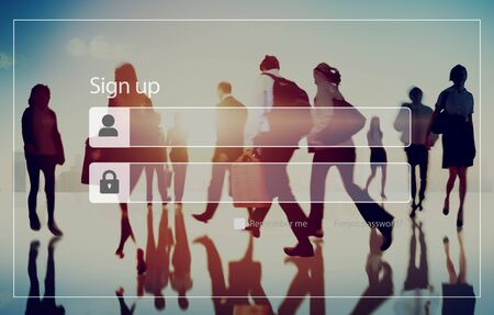 bustle: Sign Up Registration Password Privacy Security Concept Stock Photo