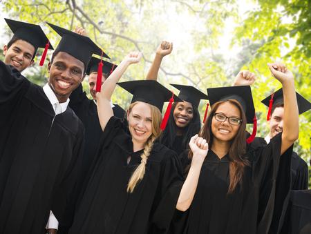 graduate: Diversity Students Graduation Success Celebration Concept